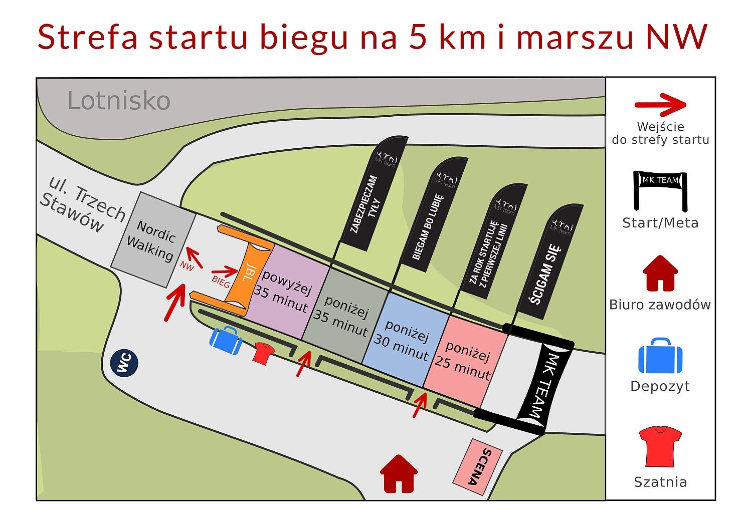 Mapa startu 5 km, marsz NW