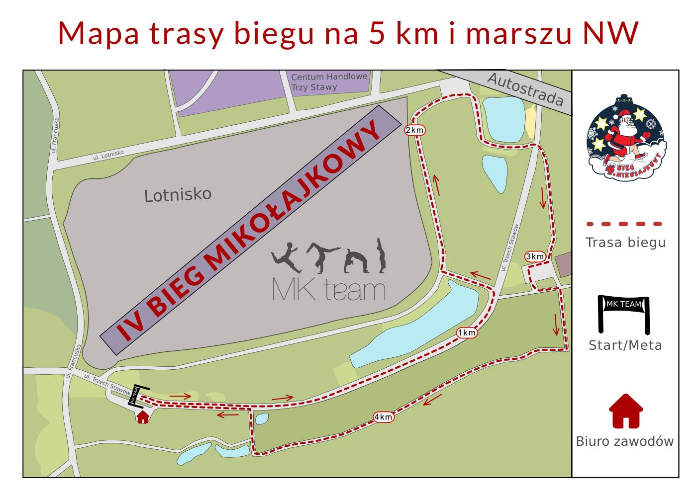 Trasa biegu na 5 km i NW