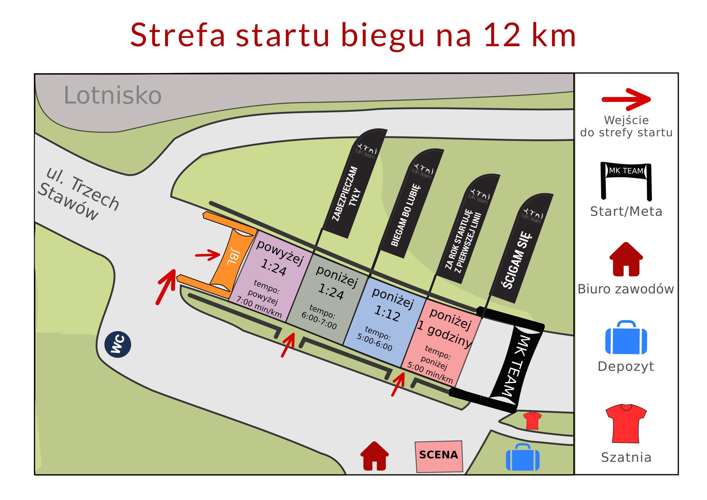 Mapa startu biegu na 12 km